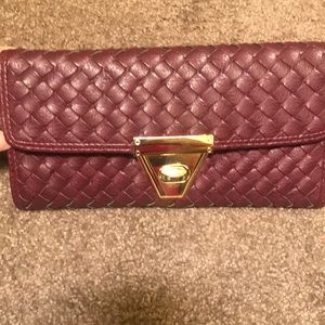 Handbags - Quilted Burgundy and Gold Wallet